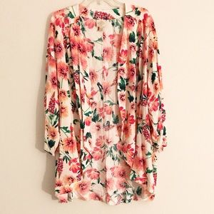 Pink Floral Cover Up Open Cardigan 3/4 sleeve